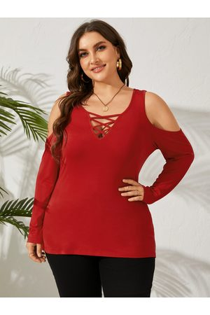 YOINS Women Long Sleeve - Plus Size Cold Shoulder Criss-Cross Long Sleeves Tee