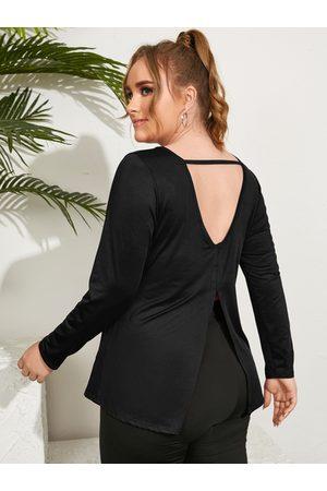 YOINS Plus Size Round Neck Backless Design Slit Design Long Sleeves Tee