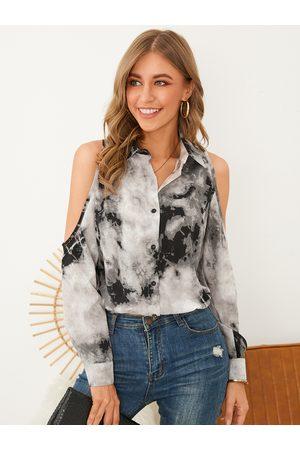YOINS Women Blouses - Tie Dye Cold Shoulder Long Sleeves Blouse