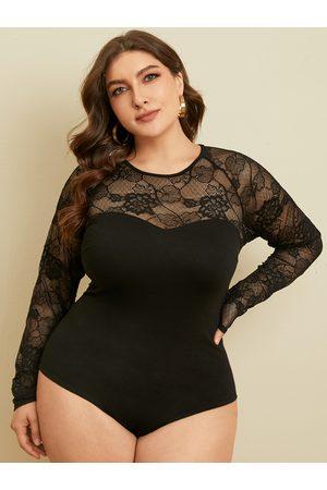 YOINS Plus Size Crew Neck Lace Long Sleeves Bodysuit
