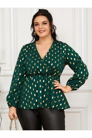 YOINS Plus Size Polka Dot Crossed Front Design Long Sleeves Blouse