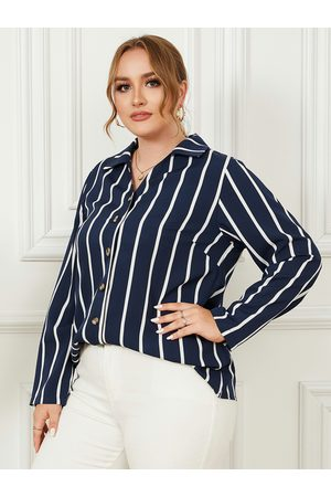 YOINS Plus Size Classic Collar Striped Button Design Long Sleeves Blouse