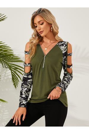 YOINS Cut Out Zip Front Cold Shoulder Long Sleeves Tee
