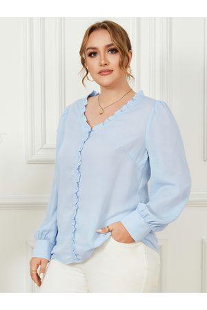 YOINS Women Blouses - Plus Size V-neck Lettuce-Edge Long Sleeves Blouse