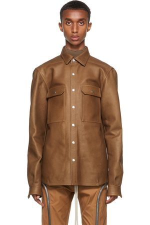 Men Leather Jackets - Rick Owens Tan Leather Outershirt Jacket