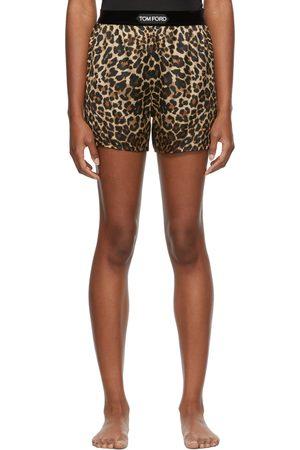 Women Shorts - TOM FORD Brown & Black Silk PJ Shorts