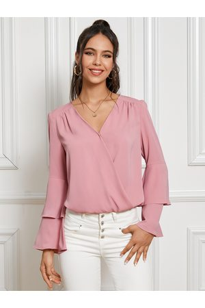 YOINS Wrap Design Double Layer Bell Sleeves Blouse