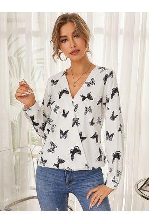 YOINS Butterfly Print Wrap Design V-neck Blouse