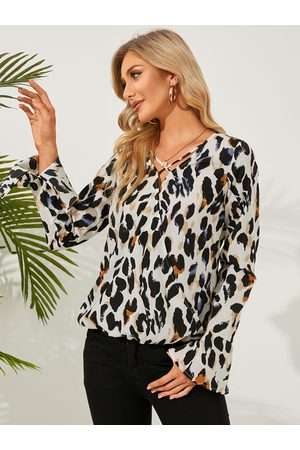 Yoins Women Blouses - Leopard Crossed Front Bell Sleeves Blouse