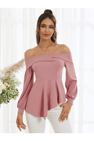 YOINS Women Blouses - Double Layer Off The Shoulder Long Sleeves Blouse