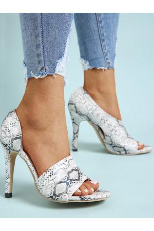 YOINS Snakeskin Hight Heel Peep Toe Sandals