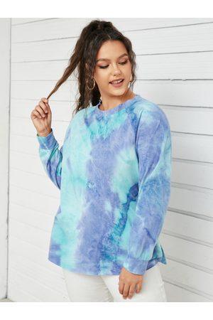 YOINS Plus Size Crew Neck Tie Dye Long Sleeves Sweatshirt