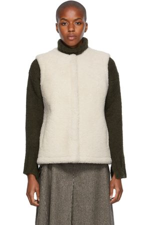 Women Camisoles - Yves Salomon Reversible Off-White Shearling & Leather Vest