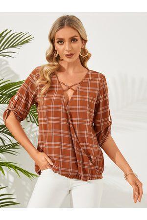 YOINS Plaid Wrap Design 3/4 Length Sleeves Blouse