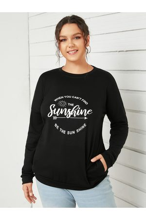 YOINS Plus Size Crew Neck Letter Long Sleeves Tee