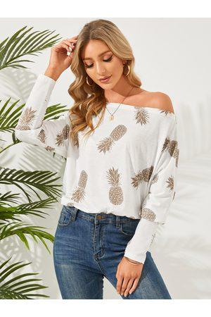 YOINS Women Long Sleeve - Pineapple Print One Shoulder Long Sleeves Tee