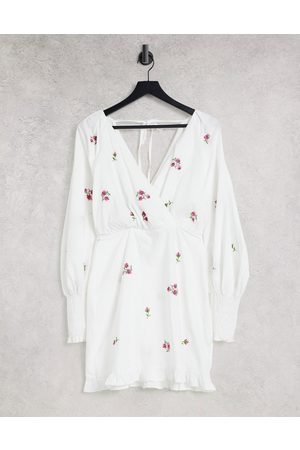 ASOS Women Casual Dresses - Cotton poplin wrap front mini dress with all over embroidery in