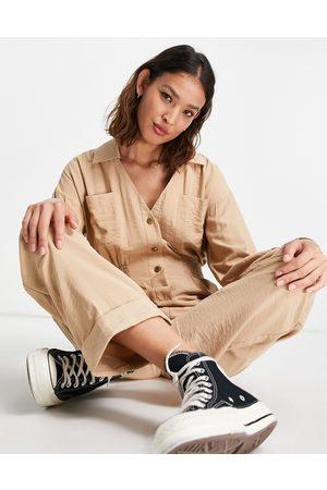 ASOS Women Long Sleeve - Long sleeve shirred waist boilersuit in oatmeal-Neutral