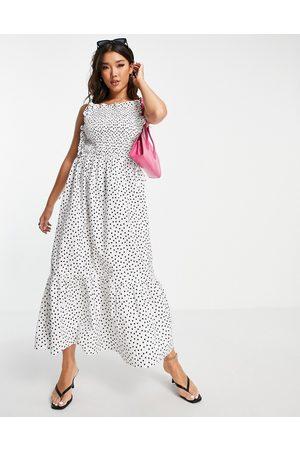 ASOS Women Printed Dresses - Shirred bodice cotton midi smock sundress in mono spot print-Multi