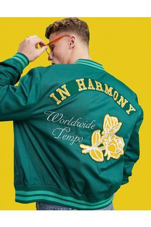 ASOS Men Bomber Jackets - Varsity bomber jacket in with embroidery badging