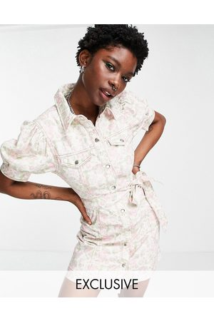 Reclaimed Women Casual Dresses - Inspired mini denim belted dress in wallpaper floral print-Multi