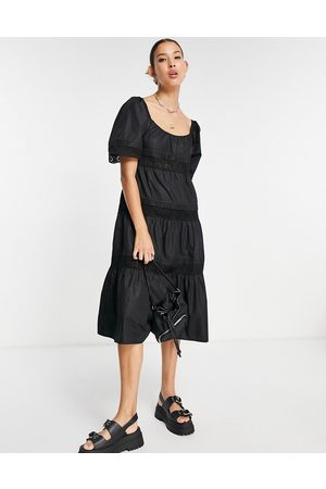 Emory Park Women Casual Dresses - Midi smock dress with tiered broderie trim skirt