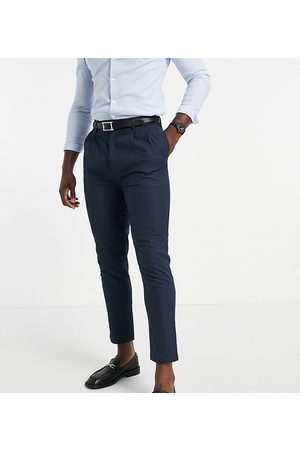 Gianni Feraud Men Chinos - Tall navy linen pleated trousers