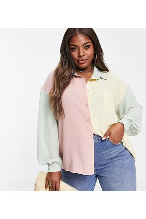 In The Style Women Tops - X Billie Faiers contrast oversized shirt in pastel multi