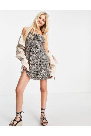 ASOS Women Casual Dresses - Ruched bust mini slip dress in animal print-Multi