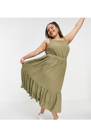 ASOS Women Summer Dresses - ASOS DESIGN Curve ruched back tiered midaxi sundress in khaki