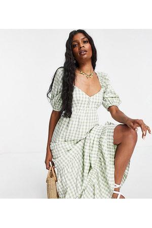 ASOS Women Casual Dresses - ASOS DESIGN Tall sweetheart neck maxi dress with pephem in gingham-Multi