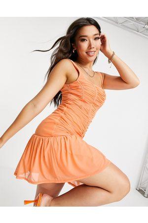 ASOS Women Evening Dresses - Corset ruched mesh mini dress in apricot
