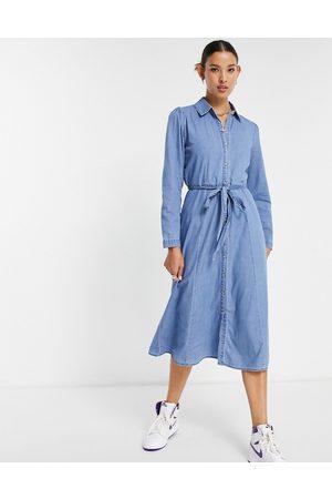 ONLY Women Casual Dresses - Midi denim shirt dress with shoulder detail
