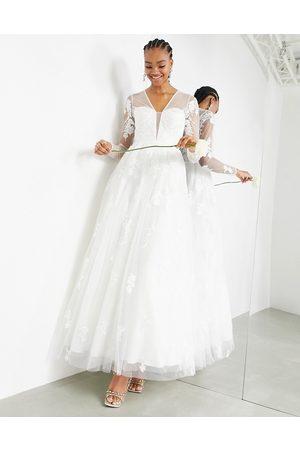 ASOS Women Maxi Dresses - Aurora long sleeve embroidered plunge dress