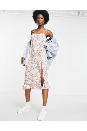 Miss Selfridge Women Printed Dresses - Ruched bust midi slip dress in leopard print