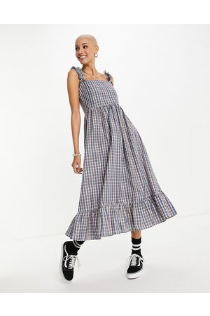 Vintage Supply Women Casual Dresses - Maxi smock dress in rainbow check-Multi