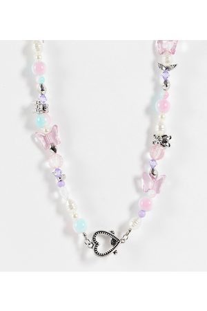 ASOS Women Necklaces - ASOS DESIGN Curve beaded necklace with cute charms and heart t bar in silver tone-Multi