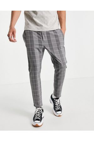 Only & Sons Men Chinos - Check trouser with drawstring waist in