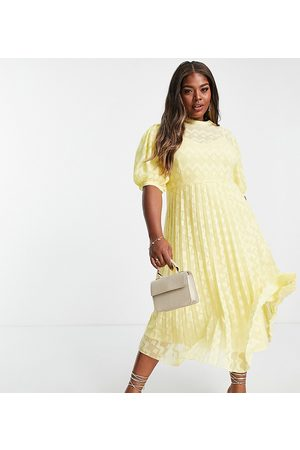 ASOS Women Midi Dresses - ASOS DESIGN Curve high neck pleated chevron dobby midi dress with puff sleeve in