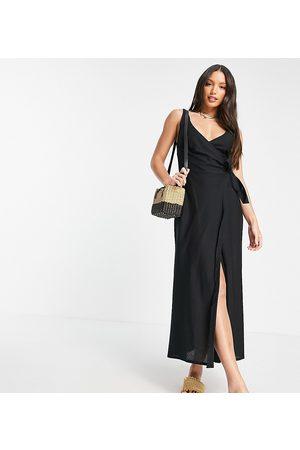 ASOS Women Maxi Dresses - ASOS DESIGN Tall linen wrap maxi dress in