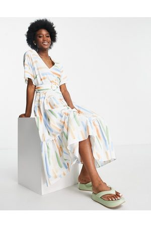 ASOS Women Casual Dresses - Tiered belted midi dress in cotton poplin in abstract print-Multi