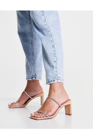 ASOS Women Sandals - Hamilton mid heeled mules in beige and