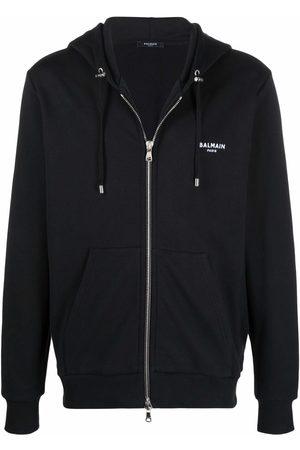 Balmain Embroidered logo organic cotton hoodie