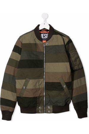 Diesel TEEN striped patchwork bomber jacket
