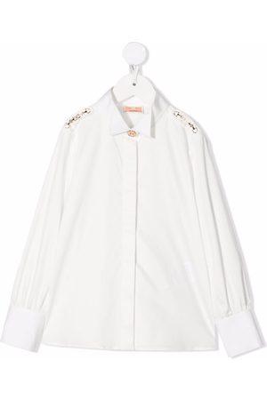 Elisabetta Franchi La Mia Bambina Horsebit-detail cotton blouse