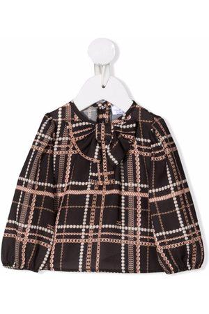 Elisabetta Franchi La Mia Bambina Baby Blouses - Checked pussy-bow blouse