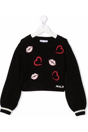 MONNALISA Girls Jumpers - Lip-embroidered rib-trimmed jumper