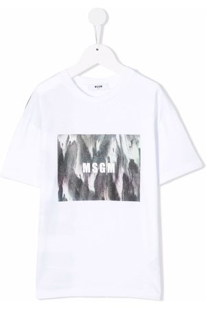 Msgm Boys Short Sleeve - Graphic-logo print T-shirt