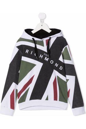 John Richmond Junior Boys Hoodies - Graphic print drawstring hoodie