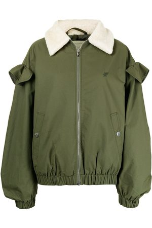 BAPY Contrast-collar ruffle-detail jacket